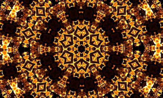 Kalejdoskop z ciepłym światłem, w formie geometrycznych kształtów.