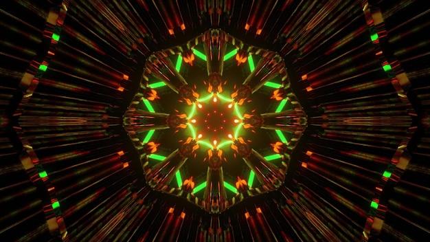 Kalejdoskopowa geometryczna ilustracja 3d oświetlającego sferyczny wzór mandali w kolorach zielonym i brązowym na czarnym tle