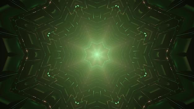 Kalejdoskopowa ilustracja 3d abstrakcyjnego tła z ornamentem w kształcie zielonej gwiazdy tworzącym symetryczny tunel
