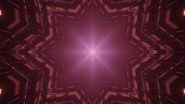 Kalejdoskopowa ilustracja 3d abstrakcyjnego tła z symetrycznym tunelem w kształcie gwiazdy świecącym słabo