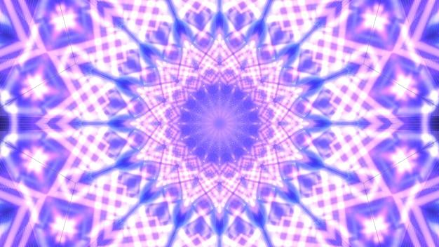 Kalejdoskopowa ilustracja 3d błyszczących fioletowych linii tworzących abstrakcyjny kreatywny ornament w kształcie kryształu