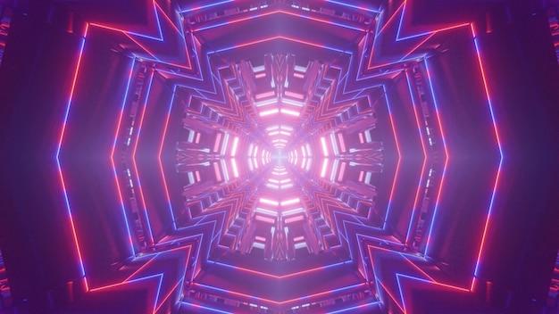 Kalejdoskopowa ilustracja 3d czerwonych i niebieskich linii neonowych tworzących abstrakcyjny błyszczący tunel