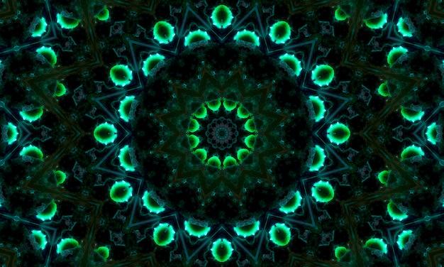 Kalejdoskopowy wzór zielonej koniczyny neonowej.