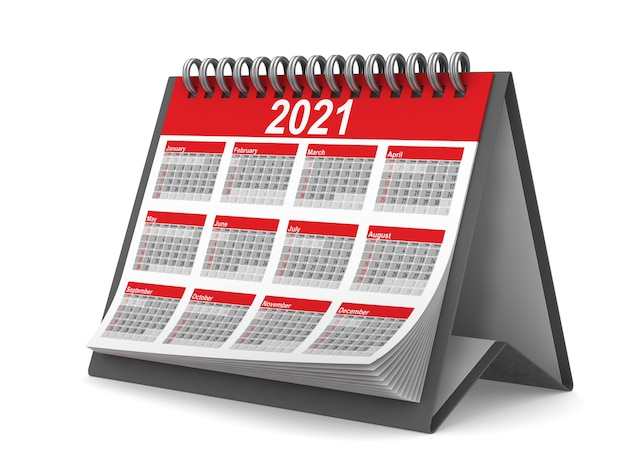 Kalendarz 2021 roku. izolowane renderowanie 3d