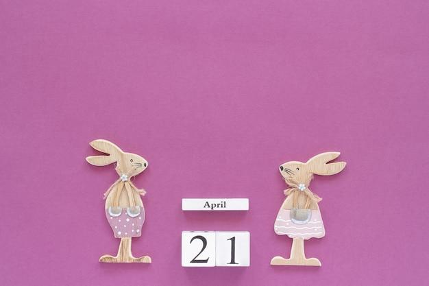 Kalendarz drewnianych kostek 21 kwietnia
