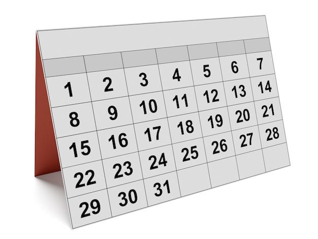 Kalendarz miesięczny na białym tle