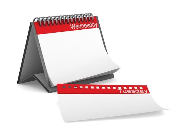 Kalendarz na środę. na białym tle, renderowania 3d