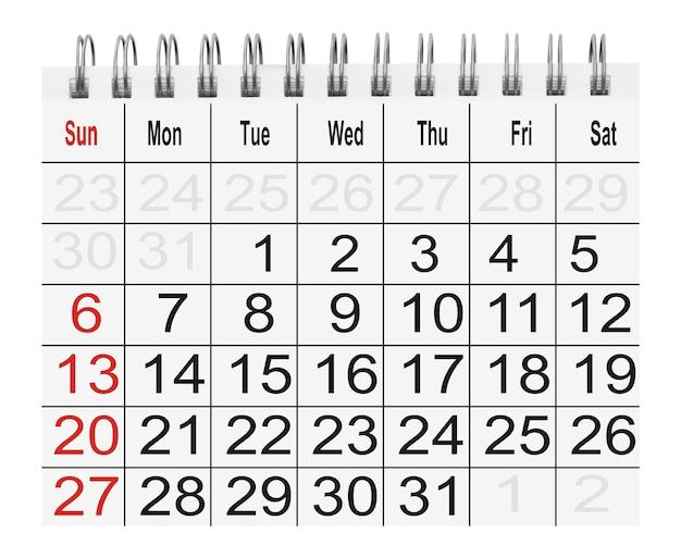 Kalendarz papierowy na białym tle