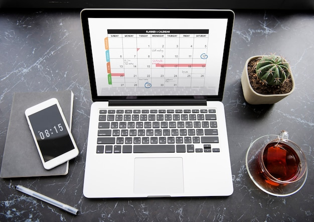 Kalendarz planner agenda harmonogram koncepcja