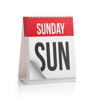 Kalendarz tygodniowy, strona niedziela