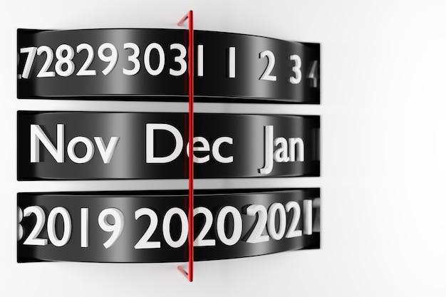 Kalendarz z czarnym paskiem 3d ilustracji