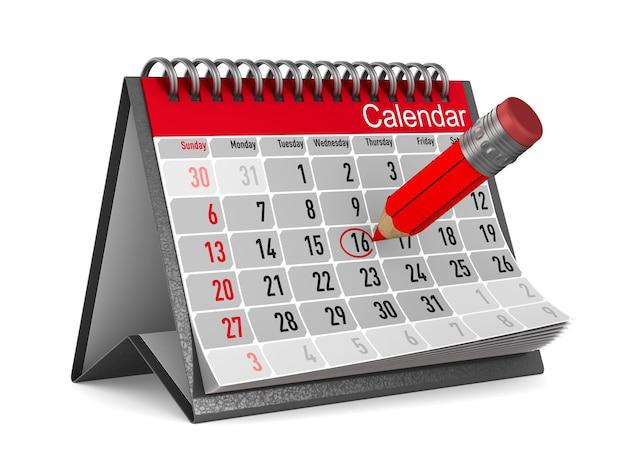 Kalendarz z zapisaną datą. na białym tle, renderowania 3d