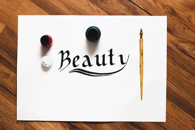 Kaligrafia piękno słowo tło