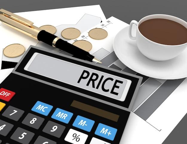 Kalkulator 3d ze słowem cena na wyświetlaczu