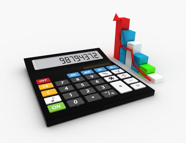 Kalkulator i kolorowy wykres. ikona 3d. pomysł na biznes. na białym tle.