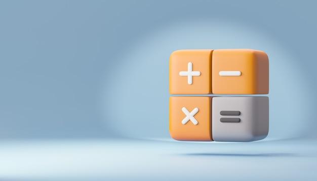Kalkulator ikony 3d blok pomarańczowy kolor szary. renderowanie ilustracji 3d.