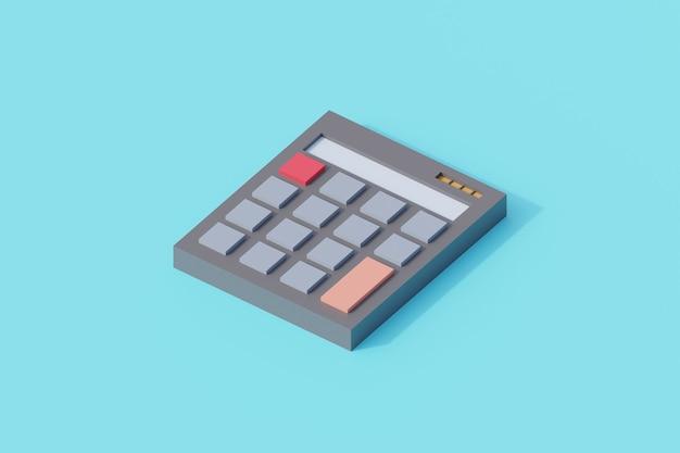 Kalkulator pojedynczy obiekt na białym tle. renderowanie 3d