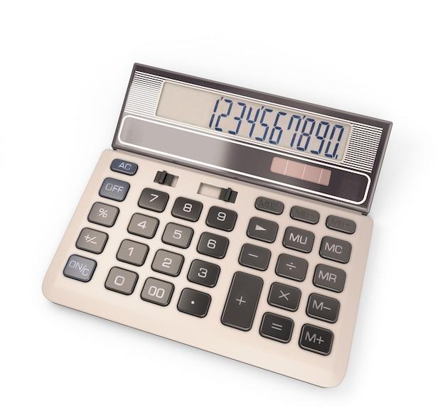 Kalkulator z numerem na wyświetlaczu w 3d ilustracji