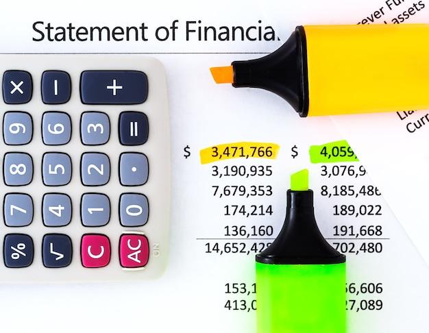 Kalkulator, zakreślacz i markery na sprawozdaniach finansowych.