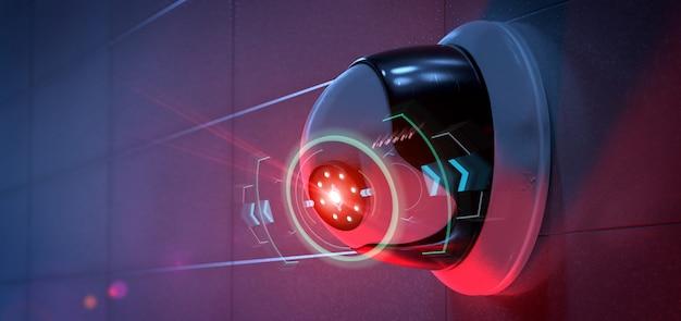 Kamera bezpieczeństwa celująca w wykryte wtargnięcie - 3d rendering