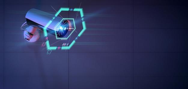 Kamera bezpieczeństwa celująca w wykryte wtargnięcie - renderowanie 3d
