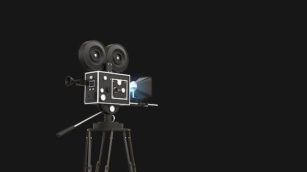 Kamera filmowa z tłem w kolorze czarnym ilustracji 3d