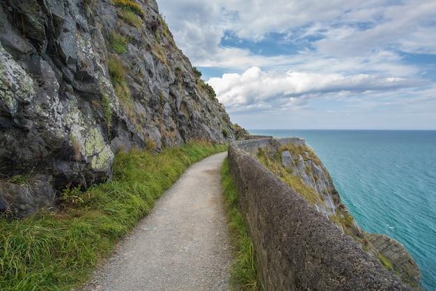 Kamień kołysa halną ścieżkę przy irlandzkim seacoast. bray, greystone