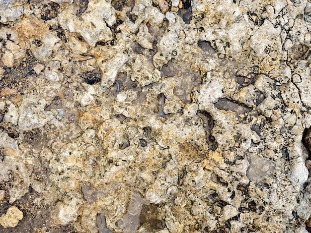 Kamień na piasku, widok z bliska gładkich, wypolerowanych kolorowych kamieni wyrzuconych na brzeg na plażę.