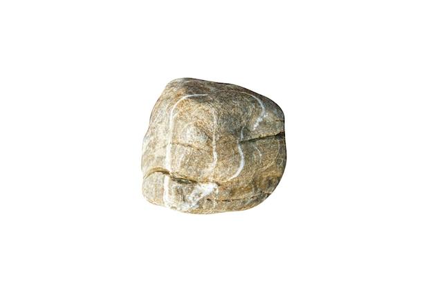 Kamień naturalny morze na białym tle. kamyk do projektowania. zdjęcie wysokiej jakości