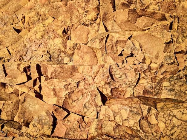 Kamień teksturowanej tło. szorstka brązowa skalista powierzchnia z abstrakcyjnymi formami