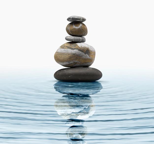 Kamienie zen w wodzie