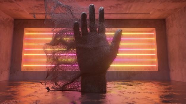 Kamienna ludzka ręka emitująca miliony strumieni cząstek w przyszłym pokoju sci-fi z nowoczesnym oświetleniem neonowym. abstrakcyjna ilustracja 3d