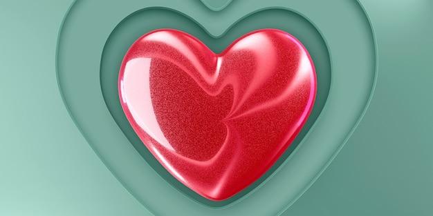 Kamienne błyszczące serce w kolorze czerwonym na zielonym papierze z wyciętymi serduszkami.