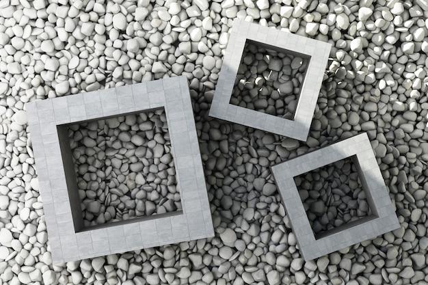 Kamienne płytki z kwadratowymi ramkami