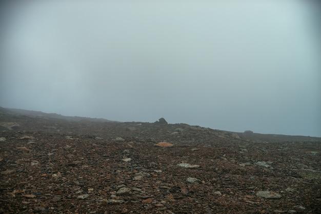 Kamienne pole w gęstej mgle na wyżynach. pusta kamienna pustynia w gęstej mgle. zerowa widoczność w górach. minimalistyczny charakter tła. ciemny atmosferyczny mglisty krajobraz górski. porosty na ostrych kamieniach.