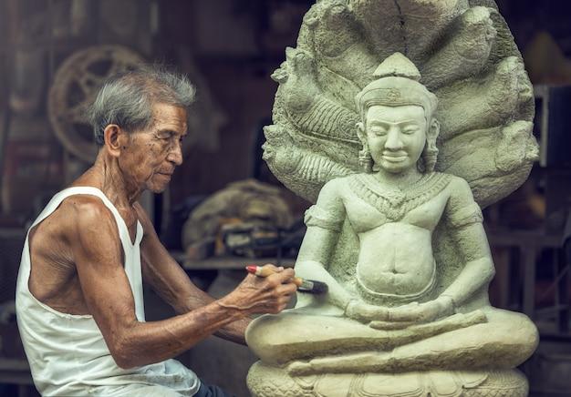 Kamienny carver, tajlandia
