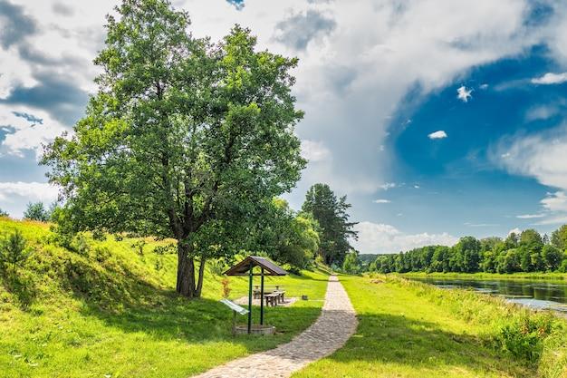 Kamienny szlak turystyczny z pięknym krajobrazem rzeki i lasu.