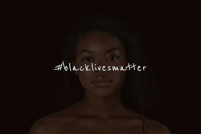 Kampania blm z afroamerykanką w cieniu postu w mediach społecznościowych