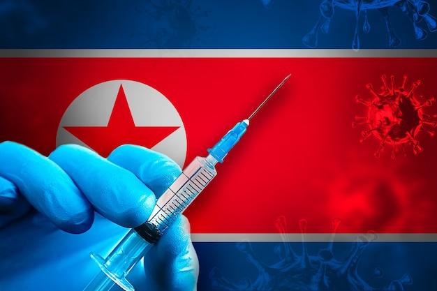 Kampania szczepień w korei północnej covid19 ręka w niebieskiej gumowej rękawiczce trzyma strzykawkę przed flagą
