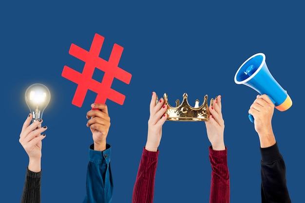 Kampania w mediach społecznościowych z żarówką pomysłów marketingowych