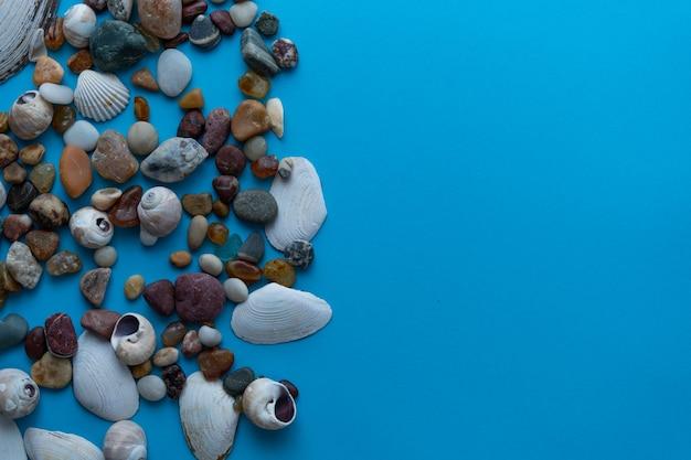 Kamyczki morskie płasko świeckich i muszle na niebieskim tle. miejsce na tekst