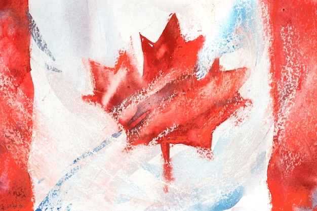 Kanada, kanadyjska flaga. ręcznie rysowane akwarela ilustracja.
