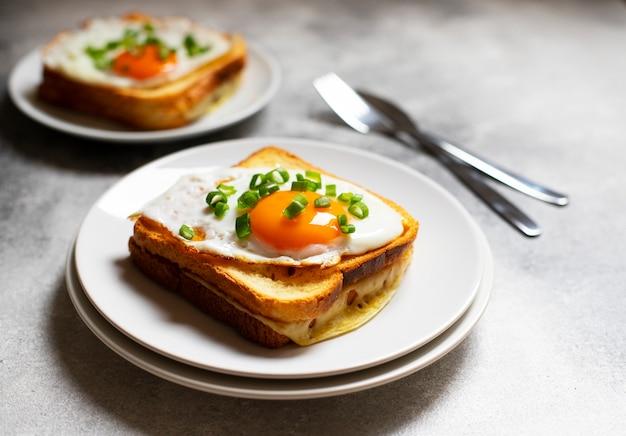 Kanapka z szynką, serem i jajkiem. tradycyjna francuska kanapka croque-madame podana na białym talerzu. popularny francuski posiłek w kawiarni. szare tło. zbliżenie. miejsce na tekst