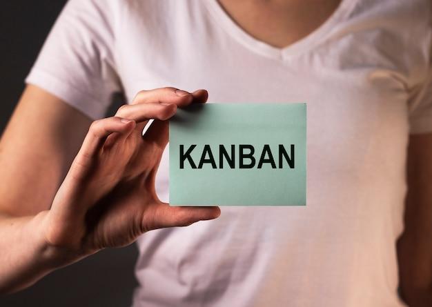 Kanban lub metoda lean w słowie koncepcji zarządzania na papierowej notatce w kobiecej dłoni