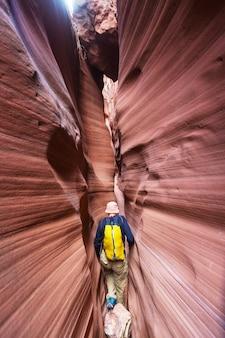 Kanion slotowy w parku narodowym grand staircase escalante, utah, usa. niezwykłe kolorowe formacje z piaskowca na pustyniach utah są popularnym celem pieszych wędrówek.