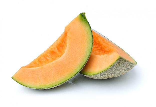 Kantalupa melon na biel przestrzeni