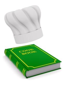 Kapelusz szefa kuchni i książka kucharska. na białym tle, renderowania 3d