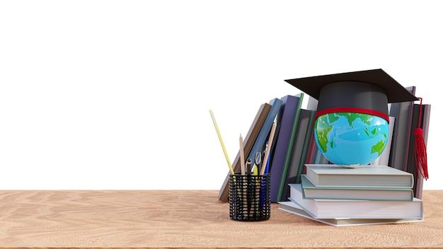 Kapelusz ukończenia szkoły z książkami stosu na stole z drewna. renderowania 3d