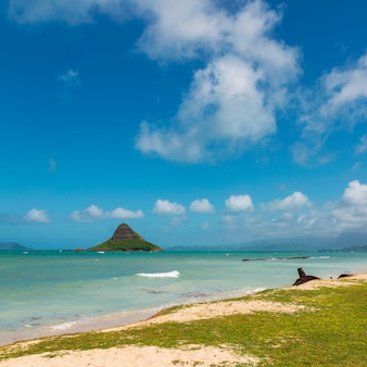 Kapeluszowa wyspa chinaman widok i piękna turkusowa woda przy kualoa plażą, oahu, hawaje