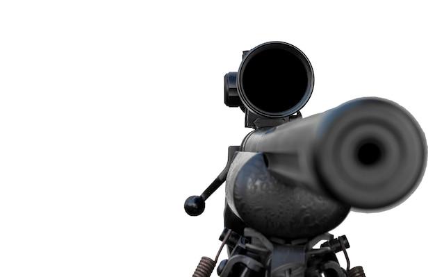Karabin z lunetą i dwójnóg na białym tle ze ścieżką przycinającą focus scope
